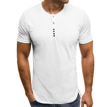 Load image into Gallery viewer, Men's T-Shirts Short Sleeve Round Neck Button Decor