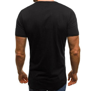 Men's T-Shirts Short Sleeve Round Neck Button Decor
