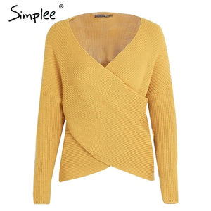 Women's V neck cross Knitted Winter Sweater Down Sleeve Pullover