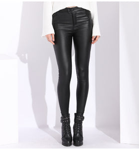 Women's Leather Tight High Waist Pants