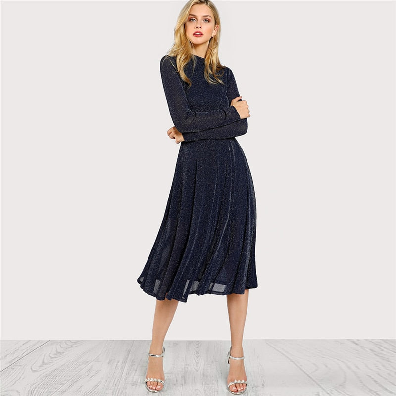 Women's Navy Long Sleeve Mock Neck Glitter Fit Flare Dress Stand Collar Elegant Party Dress