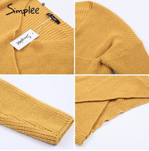 Load image into Gallery viewer, Women's V neck cross Knitted Winter Sweater Down Sleeve Pullover