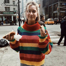 Load image into Gallery viewer, Women's Rainbow Turtleneck Sweaters Striped Colors Oversized