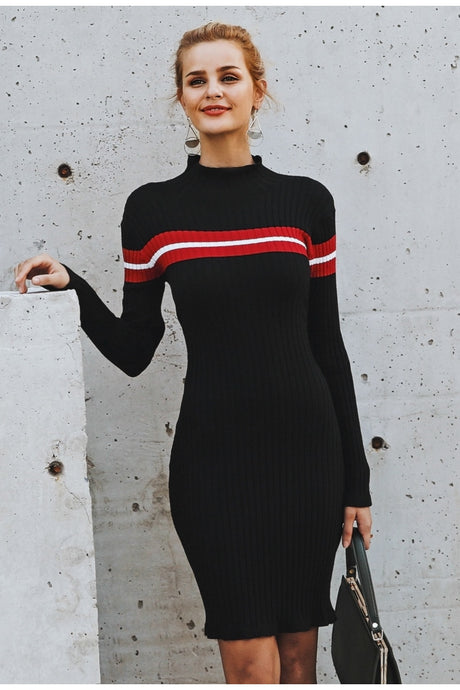 Women's Casual Turtleneck Knitted Stripe Sweater Dress Slim