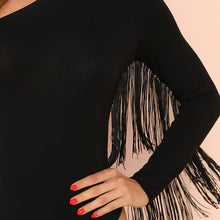 Load image into Gallery viewer, Women's Black Sexy Backless Fringe Trim One Shoulder Long Sleeve Skinny Solid Bodysuit