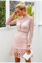 Load image into Gallery viewer, Women's Elegant hollow out mesh lace dress Sweet ruffle slim Dress long sleeve
