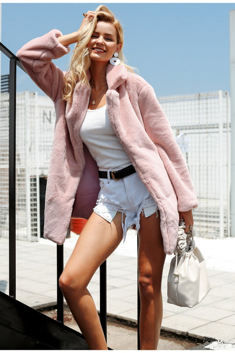 Women's Elegant Pink Shaggy Faux Fur Coat Streetwear Teddy Coat