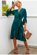 Load image into Gallery viewer, Women's Elegant Satin Solid Dress Ruffle Flare Sleeve Sash Wrap Dress V neck
