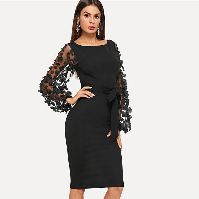 Women's Black Party Elegant Flower Applique Contrast Mesh Sleeve Form Fitting Belted Solid Dress
