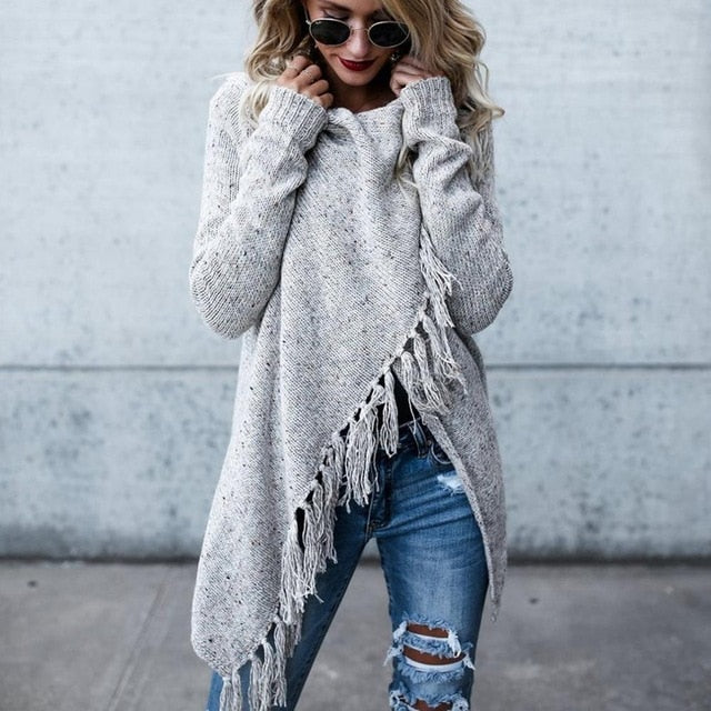 Women's Cardigan Irregular Loose Style Cloak Pullovers Poncho