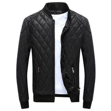 Load image into Gallery viewer, Men's High Quality Faux Leather Jacket Black/Blue