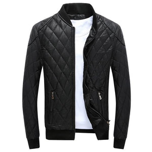 Men's High Quality Faux Leather Jacket Black/Blue