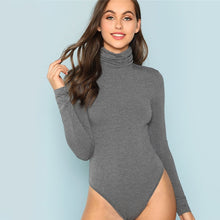 Load image into Gallery viewer, Women's Grey High Neck Heather Knit Mid Waist Solid Skinny Bodysuit