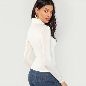 Women's White Turtleneck Slim Fit T-shirt Long Sleeve Solid