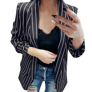 Women's Long Sleeve Striped Stylish Duster Blazer