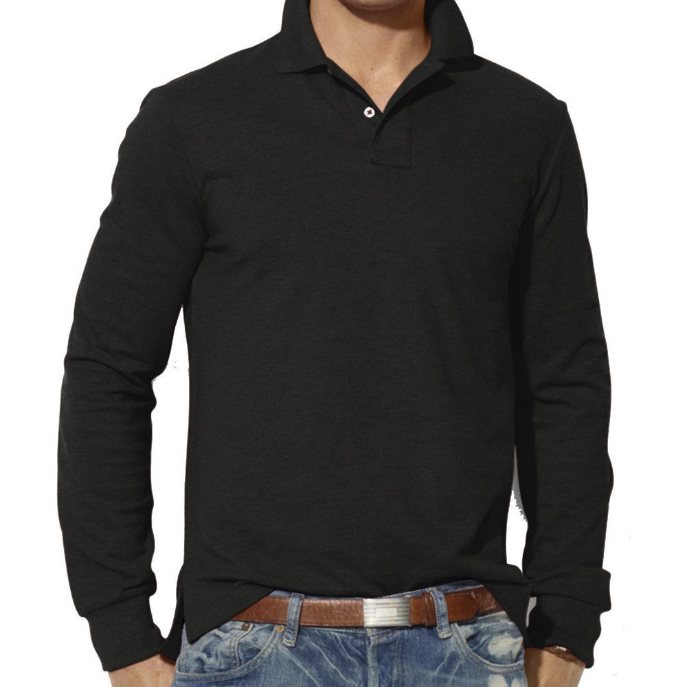 Men's Fashion Casual Slim Long Sleeve Polo Shirt