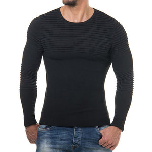 Men's Striped Drape Long Sleeve T-shirt