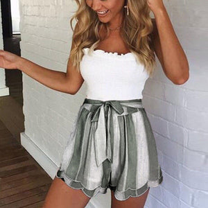 Women's Loose Pleated Shorts High Elastic Waist Striped Shorts