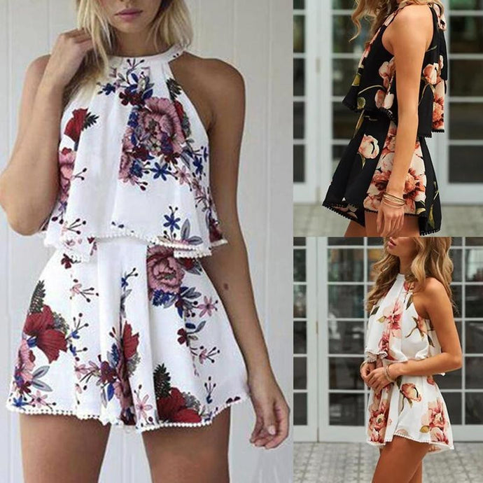 Women's Fashion Floral Printed Jumpsuit