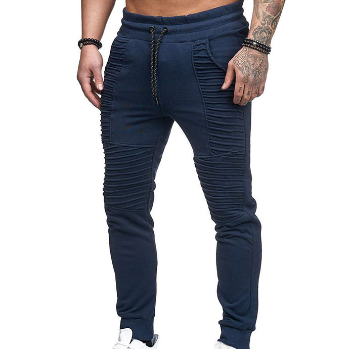 Men's Fashion Sport Striped Lashing Belts Casual Solid Pant