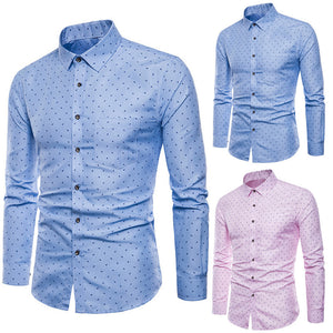 Men's Long Sleeve Oxford Formal Casual Slim Fit Shirt