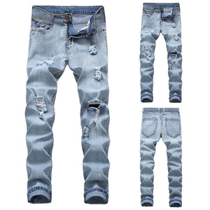 Men's Denim Straight Ripped Hole Trousers Jeans