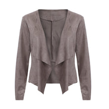 Load image into Gallery viewer, Women's Long Sleeve Leather Open Front Short Cardigan Jacket