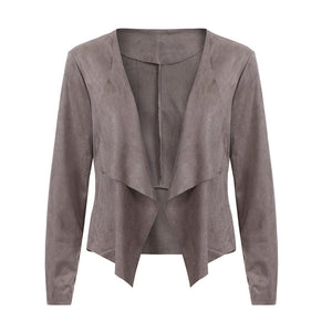 Women's Long Sleeve Leather Open Front Short Cardigan Jacket