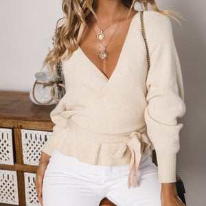 Women's V Neck Sweater Long Sleeve