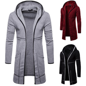 Men's Hooded Solid Trench Coat Long Sleeve