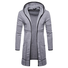 Load image into Gallery viewer, Men's Hooded Solid Trench Coat Long Sleeve