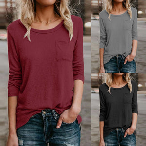 Women's Solid Casual Pocket TShirt Long Sleeve
