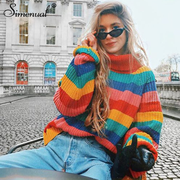 Women's Rainbow Turtleneck Sweaters Striped Colors Oversized