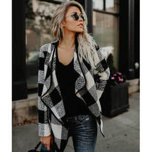 Women's Long Sleeve Plaid Cardigan Lapel Collar Casual Blazer