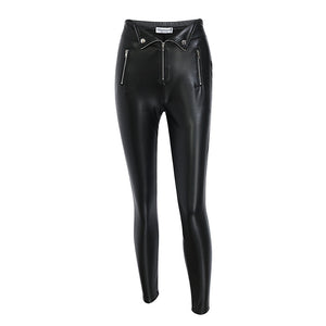 Women's Glamaker Zipper Black Leather Pants Slim PU Skinny Bodycon