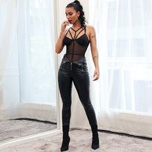 Load image into Gallery viewer, Women's Glamaker Zipper Black Leather Pants Slim PU Skinny Bodycon