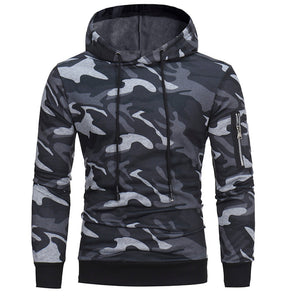 Mens' Long Sleeve Camouflage Hooded Sweatshirt