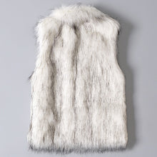 Load image into Gallery viewer, Women's Wool Vest Faux Fur Vest Stand Collar