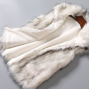 Women's Wool Vest Faux Fur Vest Stand Collar