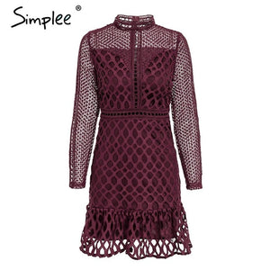 Women's Elegant hollow out mesh lace dress Sweet ruffle slim Dress long sleeve