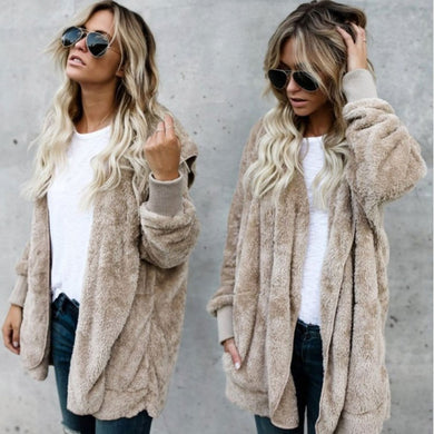 Women's Flocking Cardigans Knitwear Fleece Velvet Fur Jacket