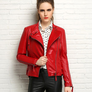 Women's Genuine leather slim jackets Black or Red