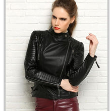Load image into Gallery viewer, Women's Genuine leather slim jackets Black or Red