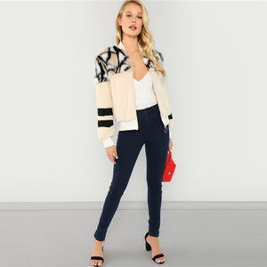 Women's Multicolor O-Ring Zip Up Faux Fur Coat
