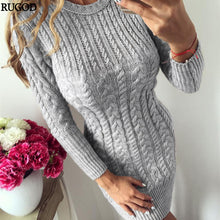 Load image into Gallery viewer, Women's Warm Sweater Dress Slim Bodycon