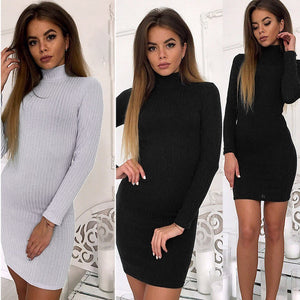Women's Sweater Dress Rib Solid Color Slim O-Neck Long-Sleeved Casual Long Knit Dress