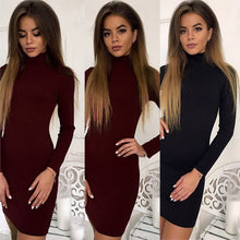 Load image into Gallery viewer, Women's Sweater Dress Rib Solid Color Slim O-Neck Long-Sleeved Casual Long Knit Dress