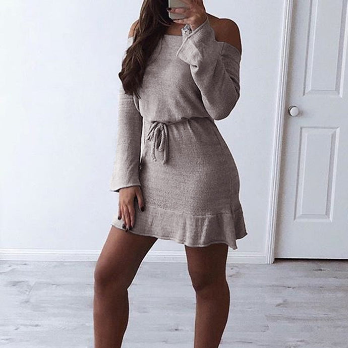 Women's Long Sleeve knitting Mini Dress Bandage Fashion Dress