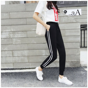 Women's Long Leisure Pants Double Striped Jogger