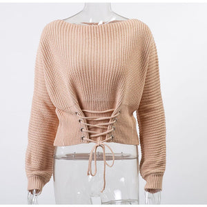 Women's Conmoto Black Lace Up Knitted Pullover Sweater Long Sleeve